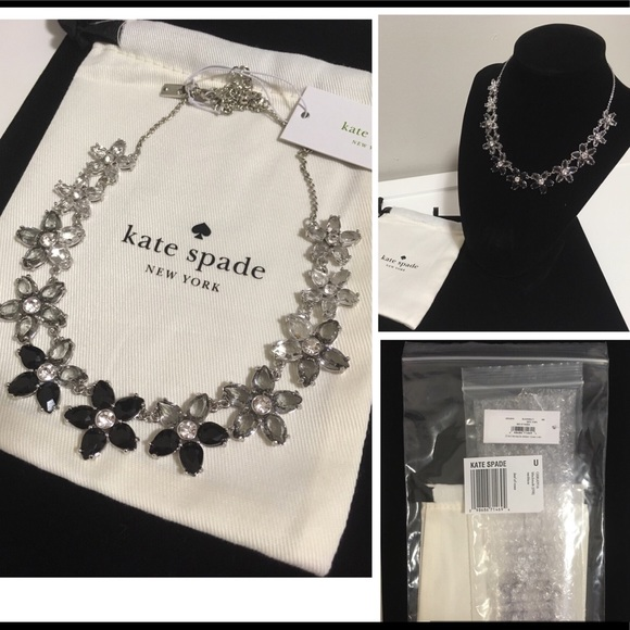 🆕KATE SPADE ♠️-BLACK FLORAL BED OF ROSES NECKLACE
